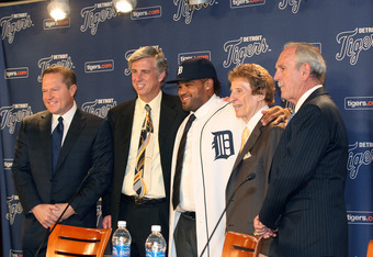 DETROIT, MI - JANUARY 26:  (L-R) Agent Scott Boras, CEO and general manager Dave Dombrowski of the Detroit Tigers, Prince Fielder, owner Mike Ilitch and manager Jim Leyland pose during a press conference amnnouncing the signing of Fielder at Comerica Park