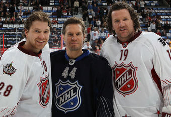 OTTAWA, ON - JANUARY 29:  Claude Giroux #28 of the Philadelphia Flyers, Kimmo Timonen #44 of the Philadelphia Flyers and Scott Hartnell #19 of the Philadelphia Flyers pose prior to the 2012 Tim Hortons NHL All-Star Game between Team Alfredsson and Team Ch