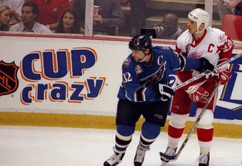 Capitals then Captain current coach Dale Hunter is paired with Red Wings Steve Yzerman in the 1998 Stanley Cup series