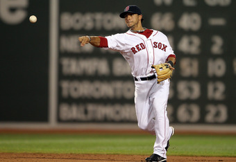 BOSTON, MA - AUGUST 01:  Mike Aviles #3 of the Boston Red Sox sends the ball to first for the out against the Cleveland Indians on August 1, 2011 at Fenway Park in Boston, Massachusetts.  (Photo by Elsa/Getty Images)