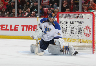 DETROIT, MI - JANUARY 23:  Jaroslav Halak #41 of the St. Louis Blues makes a save against the Detroit Red Wings during their NHL game at Joe Louis Arena on January 23, 2012 in Detroit, Michigan.  (Photo by Dave Sandford/Getty Images)