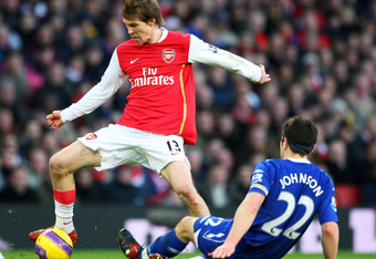 LONDON - JANUARY 12: Damien Johnson of Birmingham challenges Aleksandr Hleb of Arsenal during the Barclays Premier League match between Arsenal and Birmingham City at Emirates Stadium on January 12, 2008 in London, England.  (Photo by Clive Mason/Getty Im