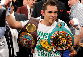 LAS VEGAS, NV - FEBRUARY 19:  Nonito Donaire of the Philippines celebrates his second-round TKO victory over Fernando Montiel of Mexico during their WBC/WBO bantamweight championship bout at the Mandalay Bay Events Center February 19, 2011 in Las Vegas, N