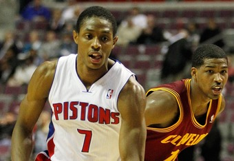 AUBURN HILLS, MI - DECEMBER 28:  Brandon Knight #7 of the Detroit Pistons dribbles in front of Tristan Thompson #13 of the Cleveland Cavaliers on December 28, 2011 at the Palace of Auburn Hills in Auburn Hills, Michigan. Cleveland won the game 105-89.  NO
