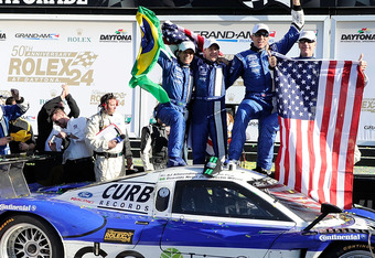 DAYTONA BEACH, FL - JANUARY 29:  The Drivers of the #60 DP Michael Shank Racing Ford Riley celebrate in Victory lane after winning the  Rolex 24 at Daytona International Speedway on January 29, 2012 in Daytona Beach, Florida.  (Photo by John Harrelson/Get