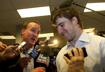 GLENDALE, AZ - FEBRUARY 03:  Eli Manning #10 of the New York Giants is congratulated by his brother Peyton Manning after defeating the New England Patriots 17-14 during Super Bowl XLII on February 3, 2008 at the University of Phoenix Stadium in Glendale,