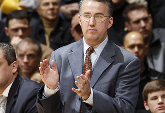 WEST LAFAYETTE, IN - DECEMBER 10: Purdue Boilermakers head coach Matt Painter looks on against the Eastern Michigan Eagles at Mackey Arena on December 10, 2011 in West Lafayette, Indiana. Purdue defeated Eastern Michigan 61-36. (Photo by Joe Robbins/Getty