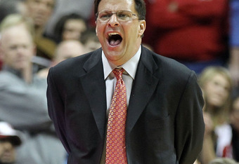 BLOOMINGTON, IN - JANUARY 05:  Tom Crean the head coach of the Indiana Hoosiers shoots the ball during the Big Ten Conference game against the Michigan Wolverines at Assembly Hall on January 5, 2012 in Bloomington, Indiana.  (Photo by Andy Lyons/Getty Ima