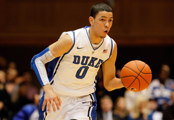 DURHAM, NC - NOVEMBER 18:  Austin Rivers #0 of the Duke Blue Devils dribbles up the court against the Davidson Wildcats during their game at Cameron Indoor Stadium on November 18, 2011 in Durham, North Carolina.  (Photo by Streeter Lecka/Getty Images)