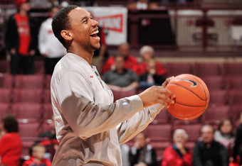 COLUMBUS, OH - DECEMBER 14:  Jared Sullinger #0 of the Ohio State Buckeyes is all smiles as he warms up before a game against the South Carolina-Upstate Spartans on December 14, 2011 at Value City Arena in Columbus, Ohio.  (Photo by Jamie Sabau/Getty Imag