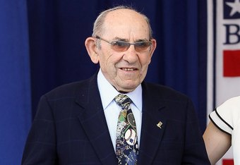 COOPERSTOWN, NY - JULY 24:  Hall of Famer Yogi Berra is introduced at Clark Sports Center during the Baseball Hall of Fame induction ceremony on July 24, 2011 in Cooperstown, New York.  (Photo by Jim McIsaac/Getty Images)