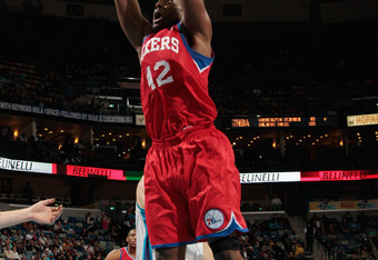 NEW ORLEANS, LA - JANUARY 04:  Elton Brand #42 of the Philadelphia 76ers dunks the ball against the New Orleans Hornets at New Orleans Arena on January 4, 2012 in New Orleans, Louisiana.   The 76ers defeated the Hornets 101-93.  NOTE TO USER: User express
