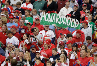PHILADELPHIA, PA - OCTOBER 01:  A fan hold a sign in the stands during Game One of the National League Division Series at Citizens Bank Park on October 1, 2011 in Philadelphia, Pennsylvania.  (Photo by Rob Carr/Getty Images)