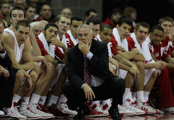 MADISON, WI - FEBRUARY 04: Head coach Bo Ryan of the Wisconsin Badgers watches along with his team as players on the court take on the Ohio State Buckeyes at Kohl Center on February 4, 2012 in Madison, Wisconsin. Ohio State defeated Wisconsin 58-52. (Phot