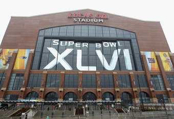 INDIANAPOLIS, IN - FEBRUARY 04:  A general exterior view of Lucas Oil Stadium decorated with official Super Bowl XLVI on February 4, 2012 in Indianapolis, Indiana. Super Bowl XLVI will be played between the New York Giants and the New England Patriots.  (
