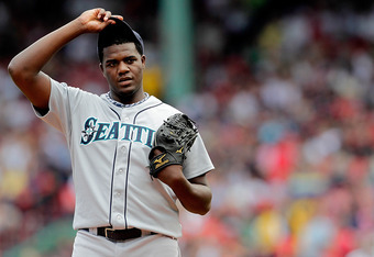 BOSTON, MA  - JULY 24:  Michael Pineda #36 of the Seattle Mariners prepares to throw against the Boston Red Sox at Fenway Park on July 24, 2011 in Boston, Massachusetts.  (Photo by Jim Rogash/Getty Images)