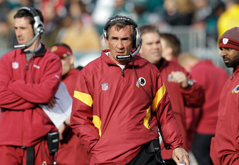 PHILADELPHIA, PA - JANUARY 01:  Head coach Mike Shanahan of the Washington Redskins watches from the sidelines against the Philadelphia Eagles at Lincoln Financial Field on January 1, 2012 in Philadelphia, Pennsylvania.  (Photo by Rob Carr/Getty Images)