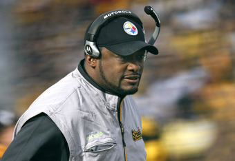 PITTSBURGH - DECEMBER 27:  Head coach Mike Tomlin of the Pittsburgh Steelers looks on while playing the Baltimore Ravens on December 27, 2009 at Heinz Field in Pittsburgh, Pennsylvania. Pittsburgh won the game 23-20. (Photo by Gregory Shamus/Getty Images)