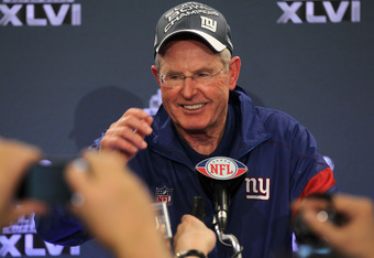 INDIANAPOLIS, IN - FEBRUARY 05:  Head coach Tom Coughlin of the New York Giants speaks to the media after defeating the New England Patriots in Super Bowl XLVI at Lucas Oil Stadium on February 5, 2012 in Indianapolis, Indiana. The New York Giants defeated