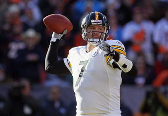 DENVER, CO - JANUARY 08:  Quarterback Ben Roethlisberger #7 of the Pittsburgh Steelers drops back to pass against the Denver Broncos during the Wild Card Playoffs at Sports Authority Field at Mile High on January 8, 2012 in Denver, Colorado. The Broncos d