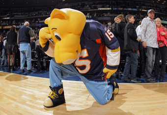 "Even the Denver Nuggets mascot got swept up in ""Tebowmania"" and gives us his best ""Tebowing"" impression"