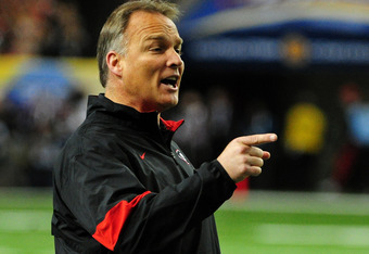 ATLANTA, GA - DECEMBER 3: Head Coach Mark Richt of the Georgia Bulldogs disputes a call against the LSU Tigers during the SEC Championship Game at the Georgia Dome on December 3, 2011 in Atlanta, Georgia. Photo by Scott Cunningham/Getty Images)