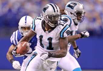 INDIANAPOLIS, IN - NOVEMBER 27:  Brandon LaFell #11 of the Carolina Panthers runs with the ball during the game against the Indianapolis Colts at Lucas Oil Stadium on November 27, 2011 in Indianapolis, Indiana.  (Photo by Andy Lyons/Getty Images)