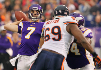 MINNEAPOLIS, MN - JANUARY 01:   Christian Ponder #7 of the Minnesota Vikings passes the ball during the first quarter against the Chicago Bears at the Hubert H. Humphrey Metrodome on January 01, 2012 in Minneapolis, Minnesota.  (Photo by Adam Bettcher /Ge