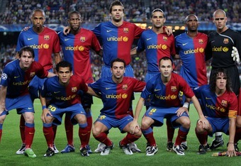BARCELONA, SPAIN - SEPTEMBER 16:  Barcelona players (Bottem L-R) Lionel Messi, Daniel Alves, Xavier Hernandez, Andres Iniesta, Carles Puyol and (Top L-R) Thierry Henry, Seydou Keita, Gerard Pique, Rafael Marquez, Samuel Eto'o and Victor Valdes pose for a
