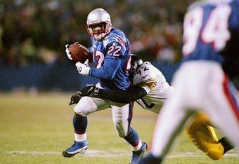 13 Dec 1997:  Running back David Meggett #22 of the New England Patriots is wrapped up by Jason Gildon #92 of the Pittsburgh Steelers during the Patriots 24-21 loss at Foxboro Stadium in Foxboro, Massachusetts. Mandatory Credit: Brian Bahr  /Allsport