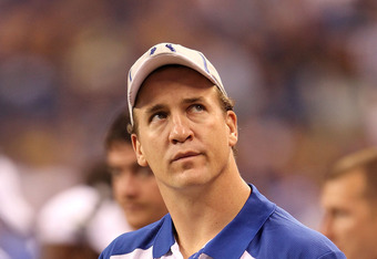 INDIANAPOLIS, IN - AUGUST 19:  Peyton Manning of the Indianapolis Colts watches the action during the game against the Washington Redskins at Lucas Oil Stadium on August 19, 2011 in Indianapolis, Indiana.  (Photo by Andy Lyons/Getty Images)