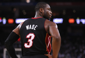 OAKLAND, CA - JANUARY 10:  Dwyane Wade #3 of the Miami Heat in action against the Golden State Warriors at Oracle Arena on January 10, 2012 in Oakland, California.  NOTE TO USER: User expressly acknowledges and agrees that, by downloading and or using thi