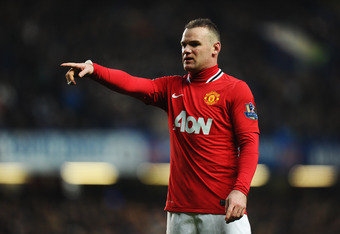 LONDON, ENGLAND - FEBRUARY 05:  Wayne Rooney of Manchester United gestures during the Barclays Premier League match between Chelsea and Manchester United at Stamford Bridge on February 5, 2012 in London, England.  (Photo by Mike Hewitt/Getty Images)