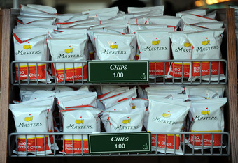 AUGUSTA, GA - APRIL 08:  Masters potato chips sit on a concession stand during a practice round prior to the 2009 Masters Tournament at Augusta National Golf Club on April 8, 2009 in Augusta, Georgia.  (Photo by Harry How/Getty Images)