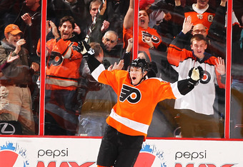 PHILADELPHIA, PA - JANUARY 05:  James van Riemsdyk #21 of the Philadelphia Flyers celebrates the game winning goal against the Chicago Blackhawks in the final seconds of the third period on January 5, 2012 at The Wells Fargo Center in Philadelphia, Pennsy