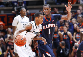 CHAMPAIGN, IL - JANUARY 31: D.J. Richardson #1 of the Illinois Fighting Illini defends against Keith Appling #11 of the Michigan State Spartans at Assembly Hall on January 31, 2012 in Champaign, Illinois. Illinois defeated Michigan State 42-41. (Photo by