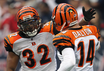 HOUSTON, TX - JANUARY 07:  (L-R) Running back Cedric Benson #32 and quarterback Andy Dalton #14 celebrate after Benson scores on a one-yard touchdown run in the first quarter while taking on the Houston Texans in their 2012 AFC Wild Card Playoff game at R