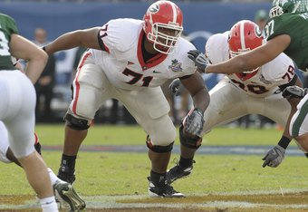 ORLANDO, FL - JANUARY 1: Guard Cordy Glenn #71 of the University of Georgia sets to block against the Michigan State Spartans at the 2009 Capital One Bowl at the Citrus Bowl on January 1, 2009 in Orlando, Florida.  (Photo by Al Messerschmidt/Getty Images)