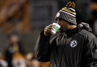 PITTSBURGH, PA - DECEMBER 08:  LaMarr Woodley #56 of the Pittsburgh Steelers looks on against the Cleveland Browns at Heinz Field on December 8, 2011 in Pittsburgh, Pennsylvania.  (Photo by Jared Wickerham/Getty Images)