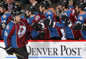 DENVER, CO - FEBRUARY 04:  David Jones #54 of the Colorado Avalanche celebrates his first period goal against the Vancouver Canucks with his teammates at the Pepsi Center on February 4, 2012 in Denver, Colorado.  (Photo by Doug Pensinger/Getty Images)
