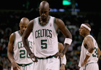 (l-to-r) Allen, Garnett, and Pierce don't look forward to the possibility of being broken up this season.