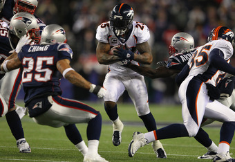 FOXBORO, MA - JANUARY 14:  Willis McGahee #23 of the Denver Broncos runs the ball against the New England Patriots during their AFC Divisional Playoff Game at Gillette Stadium on January 14, 2012 in Foxboro, Massachusetts.  (Photo by Al Bello/Getty Images
