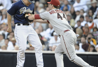 Moments later, Goldschmidt's hands returned to his sides—doused with the blood of his prey.