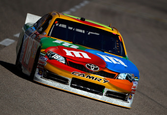 FORT WORTH, TX - NOVEMBER 04:  Kyle Busch, driver of the #18 M&M's Toyota, practices for the NASCAR Sprint Cup Series AAA Texas 500 at Texas Motor Speedway on November 4, 2011 in Fort Worth, Texas.  (Photo by Chris Graythen/Getty Images)