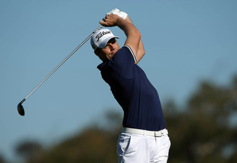 SAN DIEGO, CA - JANUARY 26:  Nick Watney tees off the 2nd hole during the first round of the Farmers Insurance Open at Torrey Pines Golf Course, South Course on January 26, 2012 in La Jolla, California. (Photo by Donald Miralle/Getty Images)