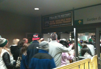 Fans waiting at North Station to enter the TD Garden, which is located directly above the train station.