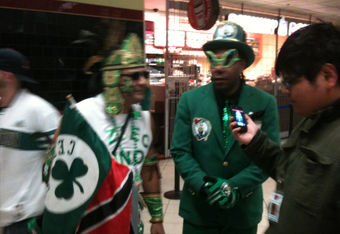 Celtics superfans like these made life miserable for the Lakers and their fans.
