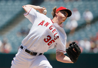 ANAHEIM, CA - JULY 21:  Jered Weaver #36 of the Los Angeles Angels of Anaheim pitches against the Texas Rangers in the second inning at Angel Stadium of Anaheim on July 21, 2011 in Anaheim, California.  (Photo by Jeff Gross/Getty Images)