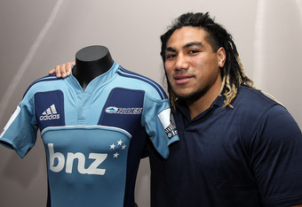 WELLINGTON, NEW ZEALAND - JULY 01:  Ma'a Nonu poses with a Blues jersey at the New Zealand Rugby Union offices on July 1, 2011 in Wellington, New Zealand. Nonu has signed with New Zealand rugby and the Blues for the 2012 and 2013 seasons and will also tak