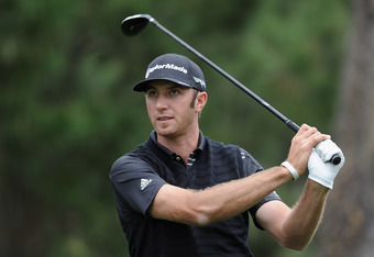 PEBBLE BEACH, CA - FEBRUARY 10: Dustin Johnson watches his shot during the second round of the AT&T Pebble Beach National Pro-Am at the Spyglass Hill Golf Course on February 10, 2012 in Pebble Beach, California.  (Photo by Harry How/Getty Images)
